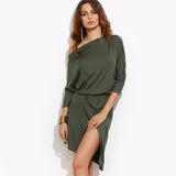 Army Green Off-The-Shoulder Asymmetrical Dress