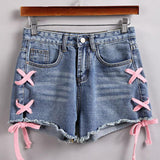 Pink Lace-Up Shorts