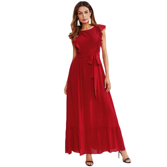 Red Bow Belted Ruffle A-Line Dress