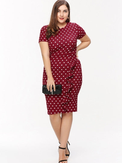 Plus Size Polka Dots Dress