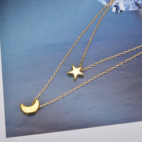 Star and Moon Simple Choker Necklace