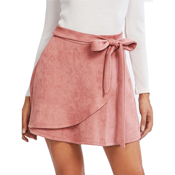 Bow Belt Suede Staggered Skirt