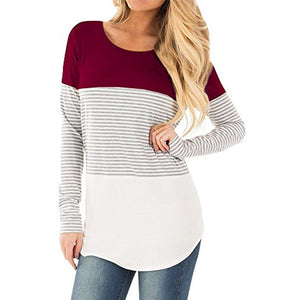 Casual Long Sleeve Striped Patchwork Stretchy Tops