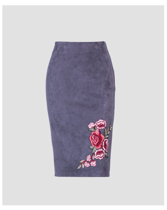 Rose Embroidered Suede Pencil Skirt