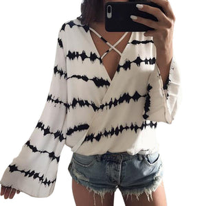Women Loose Long Sleeve Printed Top Chiffon Casual Blouse