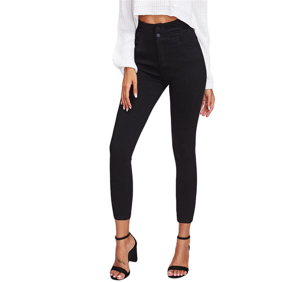 Black High Waist Skinny Denim Jeans