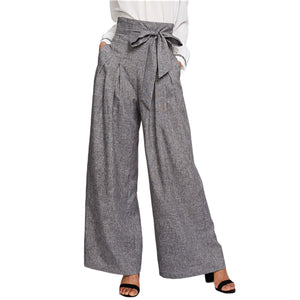 Grey Bow Belted Pants