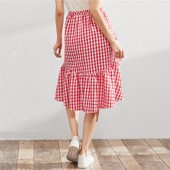 Red Gingham Skirt