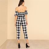 Drawstring Off The Shoulder Plaid Jumpsuit
