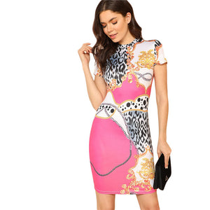 Patterned Body-Con Dress