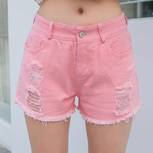 Pink Ripped Denim Shorts