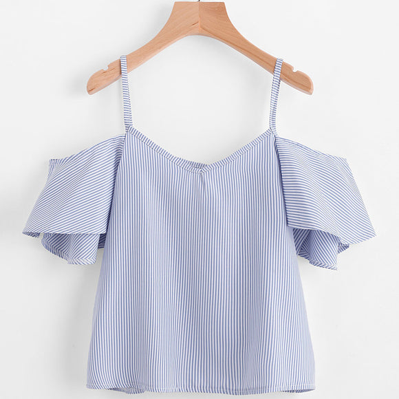 Pinstripe Cold Shoulder Top