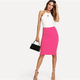 Bright Hot Pink Double Button Pencil Skirt
