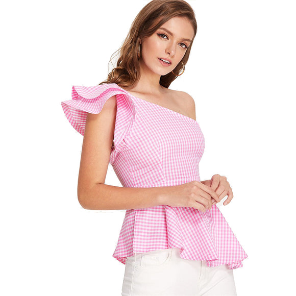 Layered One Shoulder Asymmetrical Gingham Peplum Top