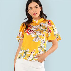 Yellow Floral Printed Blouse