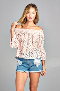 3/4 Three Quarter Long Sleeve Off Shoulder Floral Lace Top
