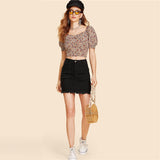 Black Ripped Mid Waist Black Denim Skirt