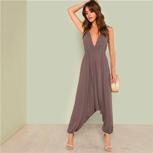 Brown V-Neck Backless Jumpsuit
