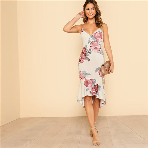 Deep V Neck Floral Dress