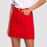 Red Frayed Denim Skirt