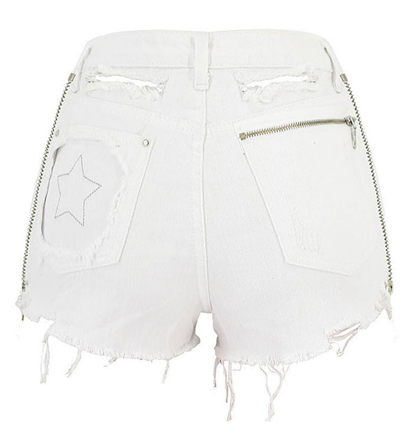 White Denim Star & Zipper Shorts