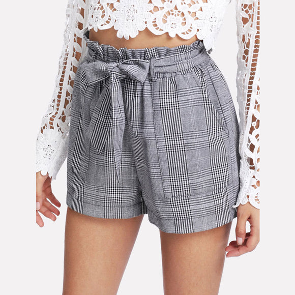 Grey Belted Shorts