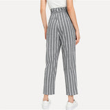 Grey Striped Bow Pants