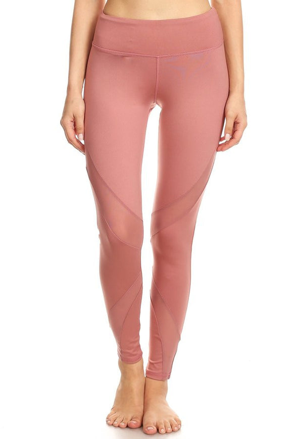 Dusty Rose Cutout Mesh Panel Legging