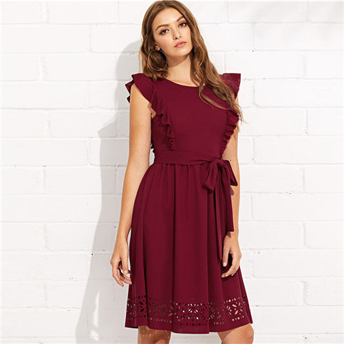 Maroon Elegant Ruffle Cut-Out Hem Dress