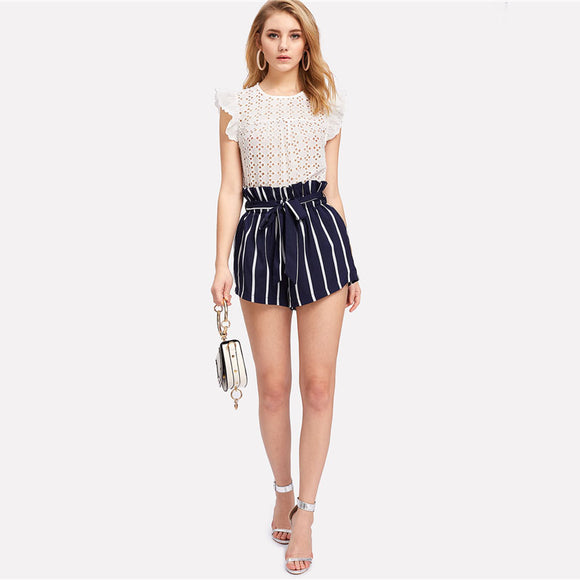 Blue Striped Belted Shorts