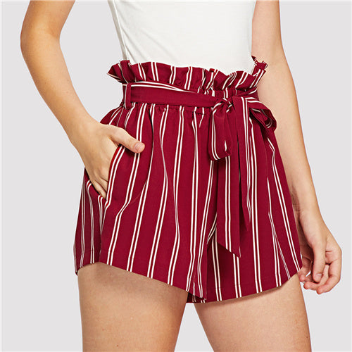 Red Striped Belted Shorts
