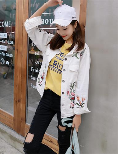 White Denim Jacket with Embroidery Flowers