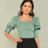 Green Gingham Square Neck Blouse
