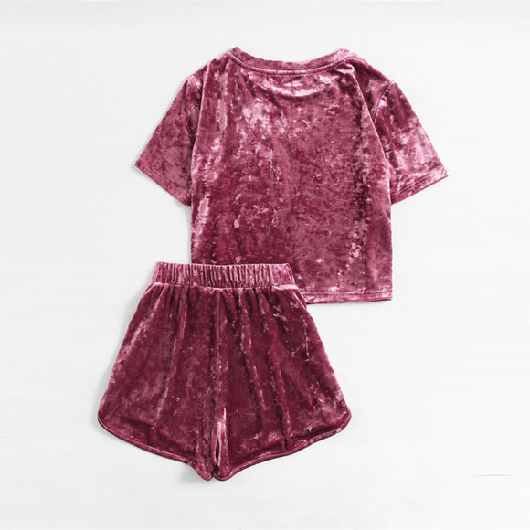 Velvet Top & Shorts Set