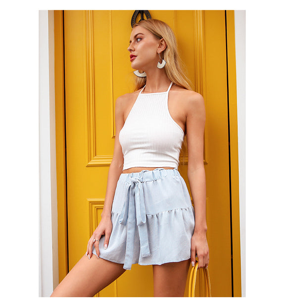 Ruffle Bow Drawstring Shorts