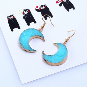 Colored Druzy Moon Earrings