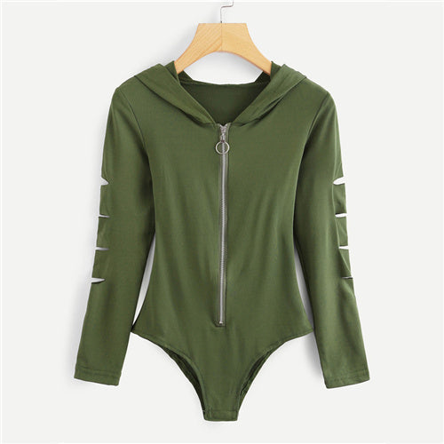 Cut Out Front Zipper Bodysuit