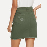 Army Green Distressed Skirt