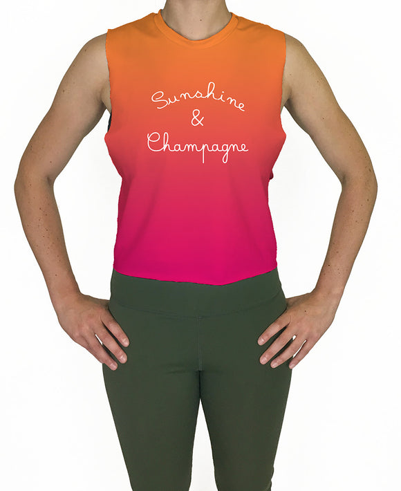 Sunshine & Champagne Gradiant Cropped Tank