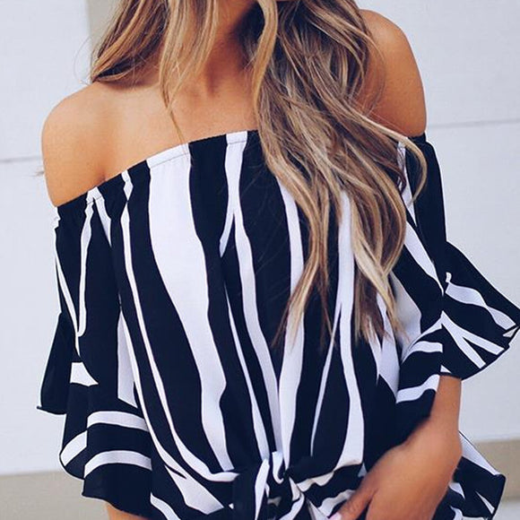 Stripe Off Shoulder Summer Blouse