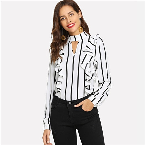 Striped Black and White Stand Collar Blouse