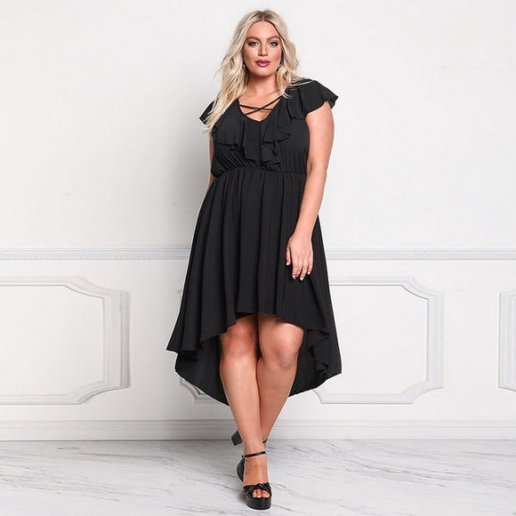 Women's Lotus Sleeve Plus Size Dress