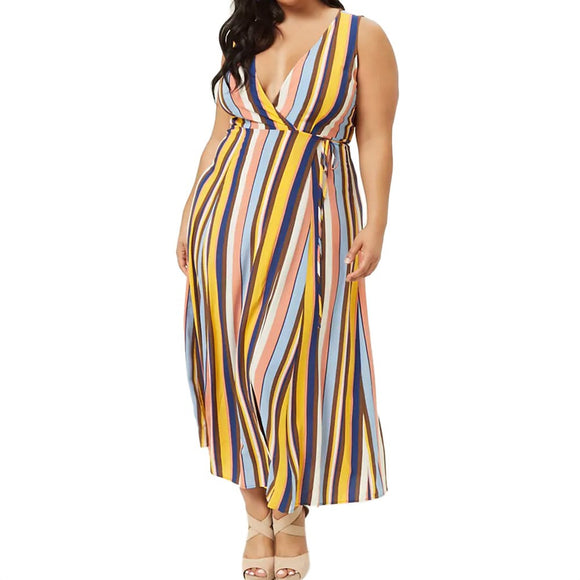 Loose Maxi Striped Sleeveless Tank Dress