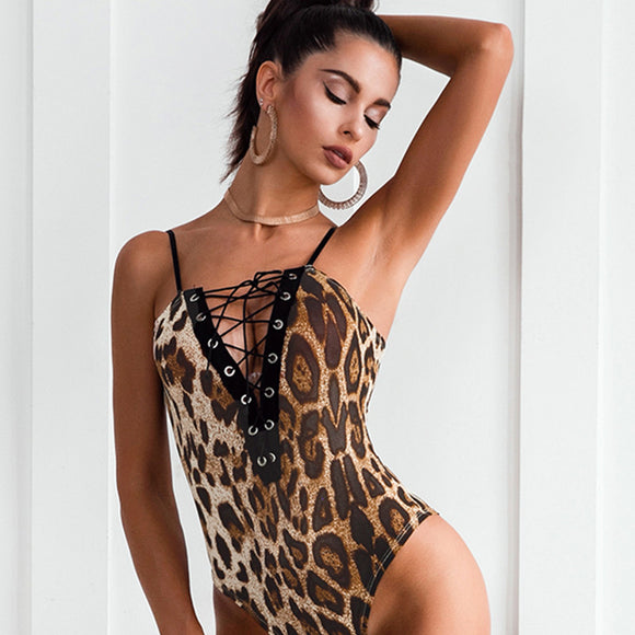 Leopard Lace-Up Bodysuit