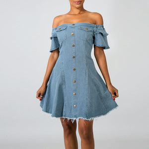 Off The Shoulder Buttoned Denim Dress