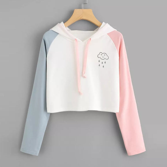 Raindrop Pastel Patchwork Hooded Sweatshirt