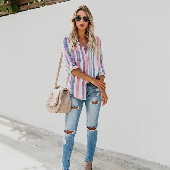 Rainbow Striped Long Sleeve Button-Up Top