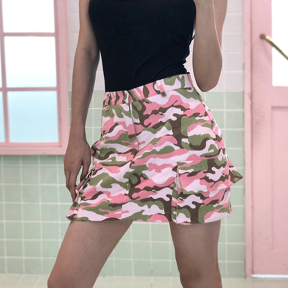 a6021f5c948 Pink and Green Camo Skirt
