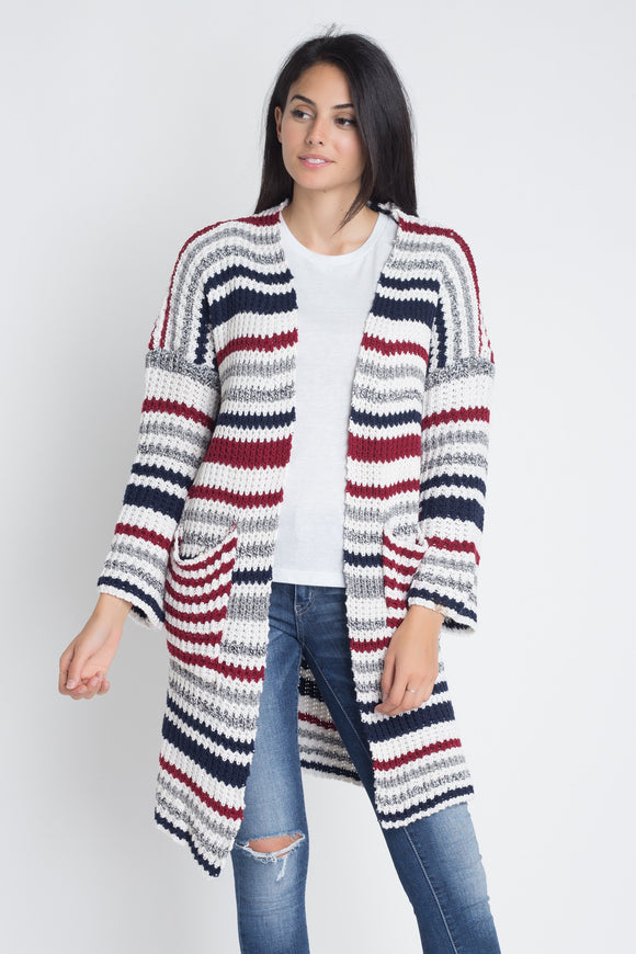 Multi-Color Stripe Knit Cardigan