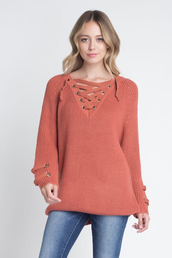 Mystique Lace-Up Sweater